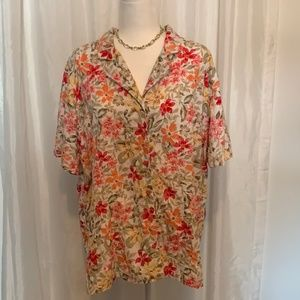 White Stag Women's Floral Yellow Blouse 22/24W